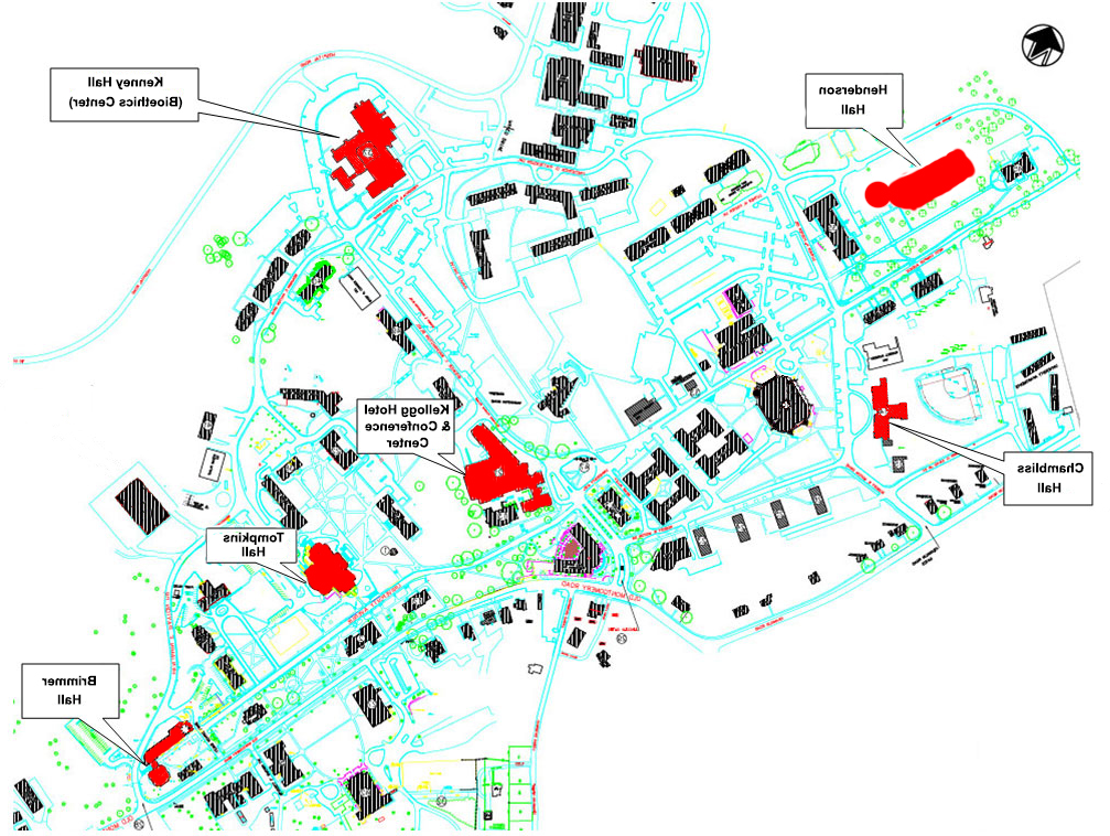 campus map showing shelters